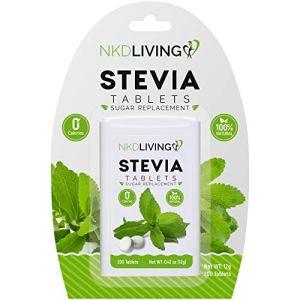 * NOUVEAU DESIGN * NKD Living Pure Édulcorant Stevia – 200 Comprimés – * Non amer *