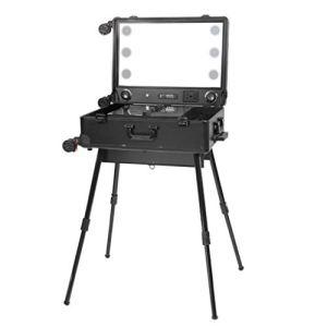 YD Cas cosmétiques Chariot à cadre en alliage d'aluminium avec boîtier cosmétique léger LED atténuant la valeur du support de miroir de grande taille, support de maquillage universel pour roues 45 × 2