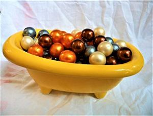 Baignoire céramique cadeau de 80 perles d'huile de bain parfum des îles marine,monoï,vanille et coco de fabrication Française