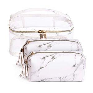 Imperméable PVC Sac a Maquillage Set de 3 Trousse Vanity Rangement pour Femme Cosmétique toilette Makeup (Blanc Set)