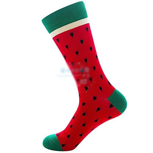 Chaussettes femelles de chaussettes de natation de fruits de méduse -5 paires chaussettes mâles de crabe d'ancre dans des chaussettes de tube , Décontracté confortable ( Couleur : Red watermelon )