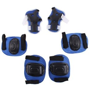 6 en 1 ski patinage de protection Palm Elbow Knee Support Full Set Bleu