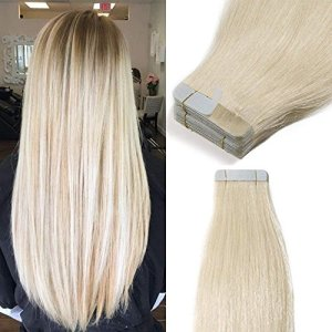 Extension Adhesive Cheveux Naturel 40 Pcs Bande Adhesive Extension Rajout Cheveux Humain – Remy Human Hair Tape In Hair Extensions (#60 BLOND PLATINE, 35CM – 80g)