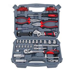 JIAX 67Pc Set d'outils à Main métrique Voiture Réparation Automobile Mécanique Automobile Outil Kit Accueil Garage Socket Outils Clé avec l'outil Case