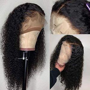 LDDLH bouclés brésiliens 13 * 4 avant de lacet perruques de cheveux humains pour les femmes noires lace frontale perruque bébé cheveux pré plumés noeud blanchi Remy-24 pouces