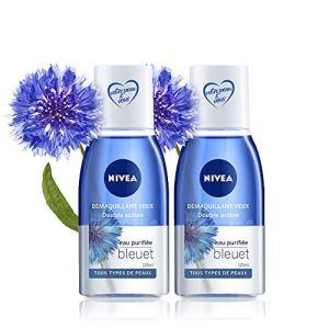 NIVEA Démaquillant Yeux Double Action au Bleuet (2×125 ml), nettoyant visage enrichi en eau purifiée, soin visage femme pour tous types de peaux, format voyage