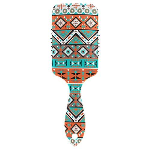 DOSHINE Tribal Aztec Brosse à cheveux Motif géométrique Coussin d'air Peigne de massage Anti statique Pointe boulette Brosse Démêlant pour cuir chevelu sensible Cheveux secs et abîmés