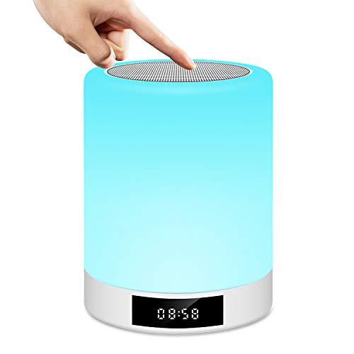 Lampe de Chevet Tactile Rechargeable Portable, Lampe de Table Enceinte Bluetooth Musique, FM Radio Réveil Lumière LED Multicolor Mains Libres pour Chambre à Coucher, Bureau, Salle de bébé Tikitaka