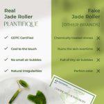 Premium Rouleau en Pierre de Jade Véritable & Certifié 100% Naturel pour le visage – roller facial anti-age avec outil Gua Sha | Jade Roller – Massage Visage – Circulation Sanguine – Soin Peau