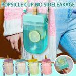 Popsicle Buvez des bouteilles d'eau, des poules de poubelles en plastique de glace créatives Boire des bouteilles d'eau avec une bandoulière réglable de paille 10 oz étanche étanche BPA Jug d'eau libr