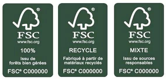 Il existe trois types de labels FSC : 100 % (issu de forêts bien gérées), Recyclé (fabriqué à partir de matériaux recyclés) ou Mixte (issu de sources responsables).