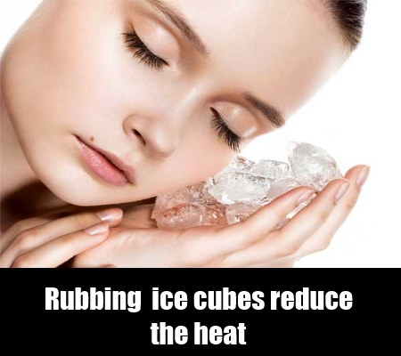 Cold water and ice cubes