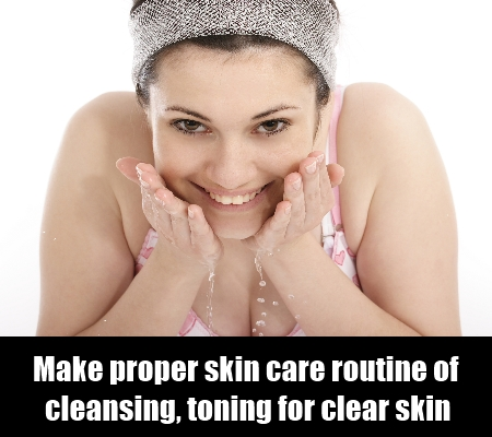 Skin care routine of cleansing