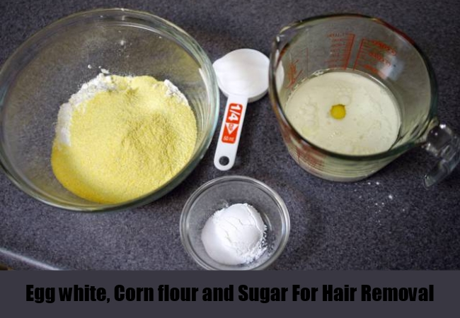 Egg white, Corn flour and Sugar