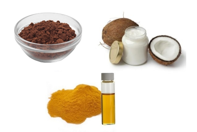 cocoa butter coconut oil and turmeric oil