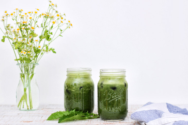 Dandelion kombucha smoothie with spinach, barley grass and apple - a herb fairy full of power
