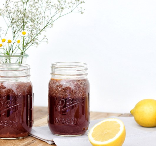 Chia seed kombucha drink with acai und maca root- the power drink of the old incas