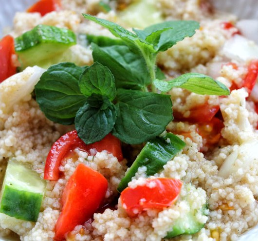 Water kefir couscous salad – colourful veggies meet fresh kefir - salad