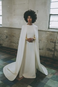 Solange Knowles wore a floor-length Humberto Leon for Kenzo gown with an attached cape for her Nov. 16 New Orleans wedding. P/Credit: Rog Walker