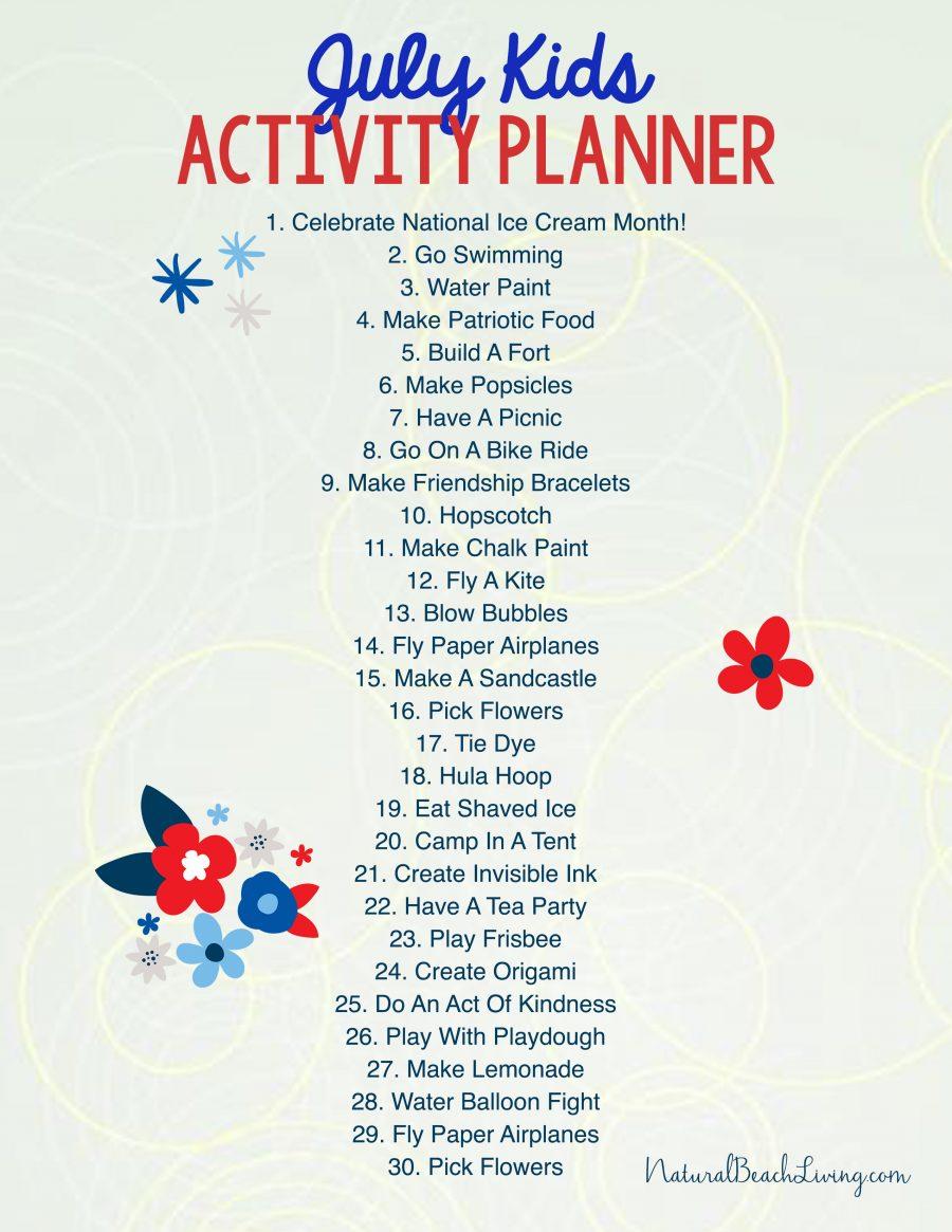 Free Summer Activity Calendar Kids Love, July Activity Calendar, Free  Summer Ideas For Kids