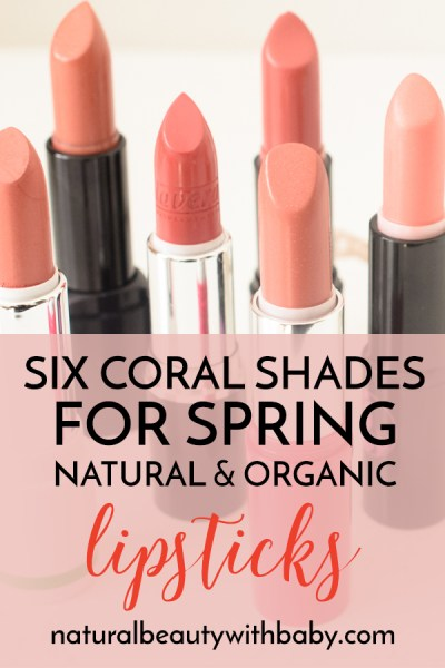 Six gorgeous coral shades of natural and organic lipstick reviewed for spring. Revamp your spring makeup look and read my full reviews!