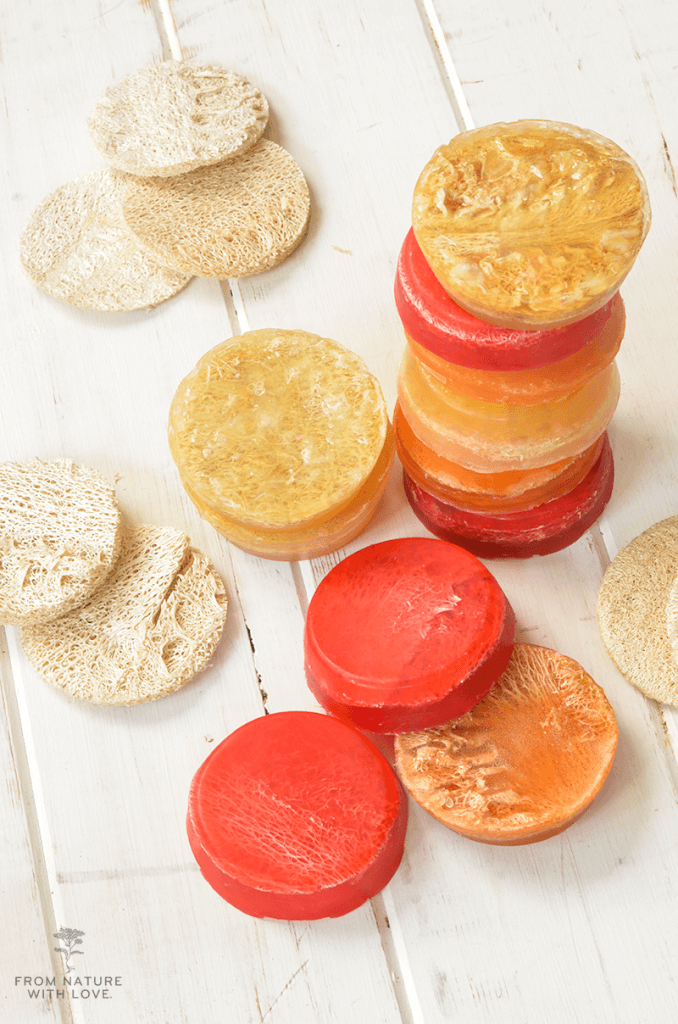 How to make Loofah Fruit Slice Soaps - fruity scented glycerin soaps with embedded loofah slices