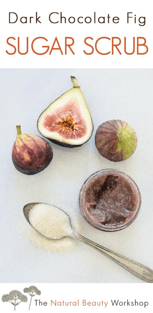 How to make a Dark Chocolate Fig Sugar Scrub - an exfoliating body polish using real cocoa and natural sugar