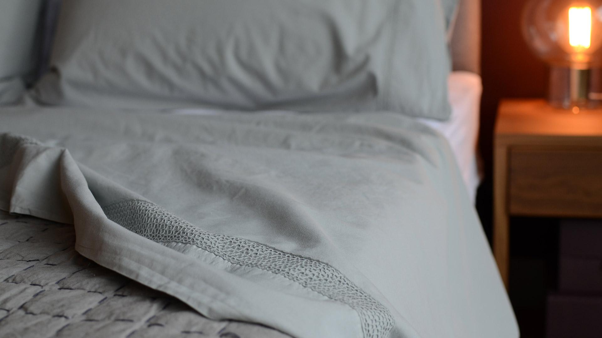 Stonewashed Cotton Bedding Set I Storm Grey Natural Bed