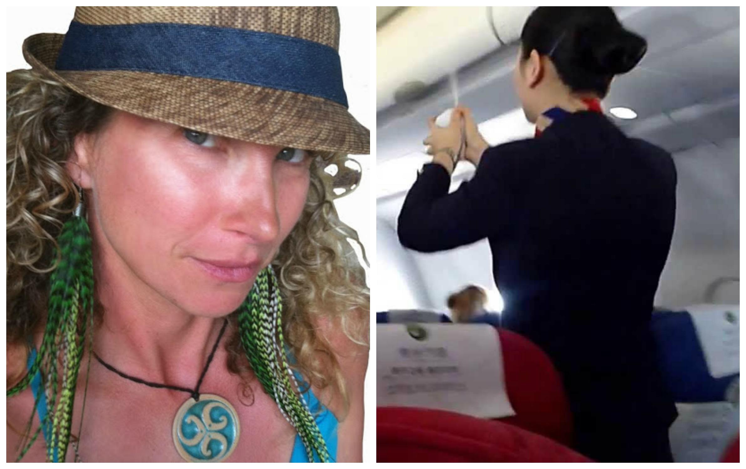 woman sprayed on plane
