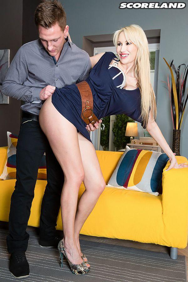 Busty blonde Sandra Star fake tits xxx pics