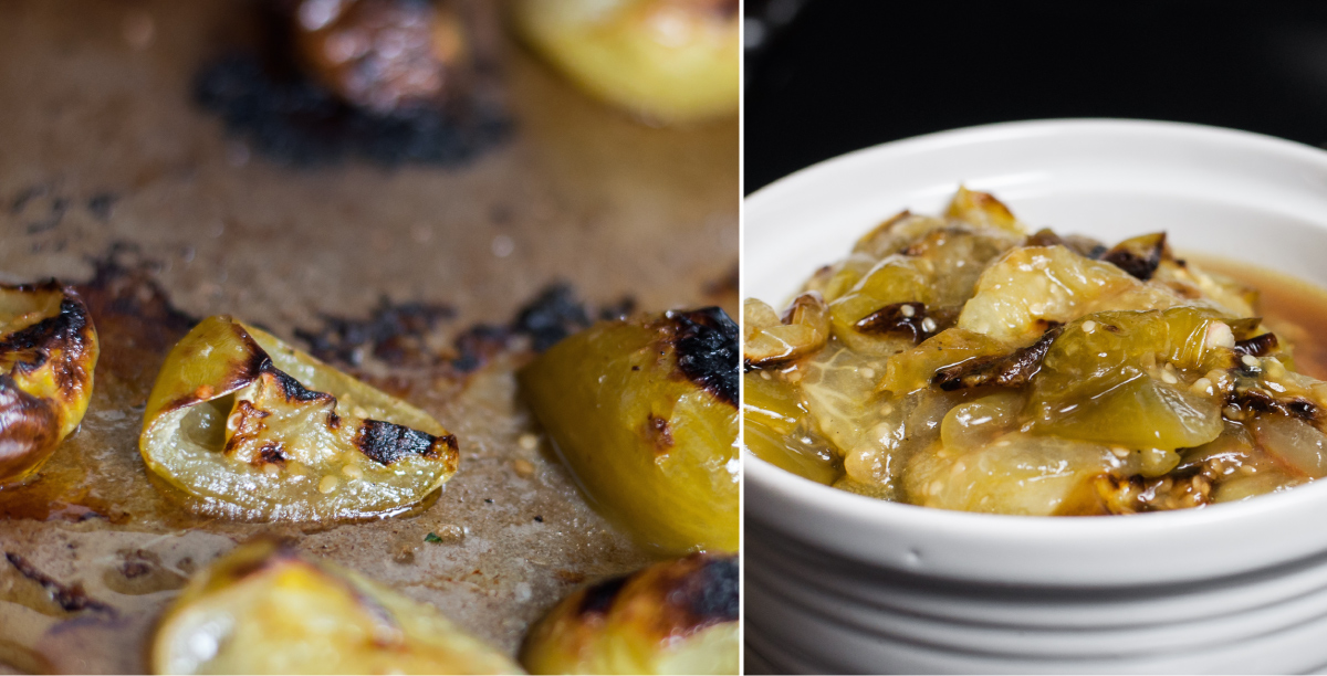 Broiled tomatillos add smoky flavor to pretty red beet and bean vegetarian chili.