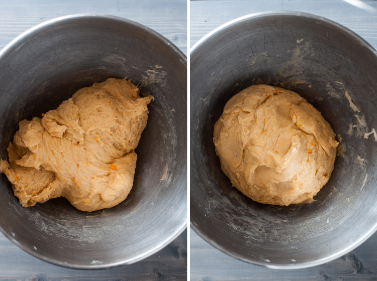 Dough for sweet potato dinner rolls
