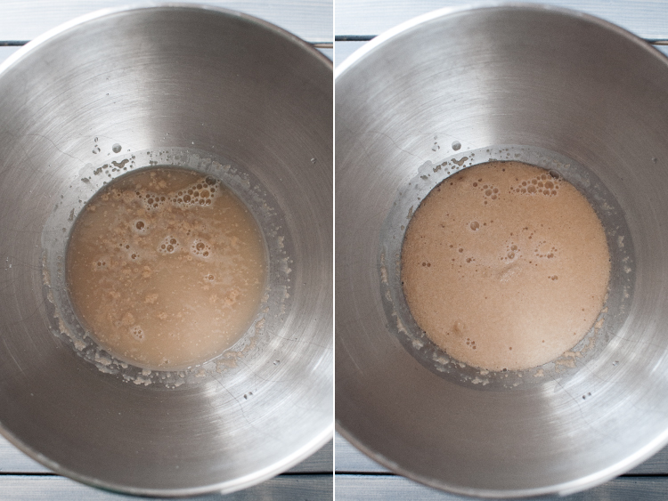 Activating yeast for sweet potato rolls