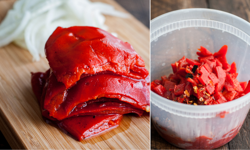 Roasted piquillo peppers for warm chickpea skillet dip