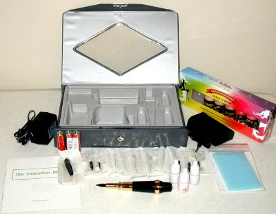 Kit contains the following; 1) Pen Style Tattoo Machine w/ Non-slip rubber