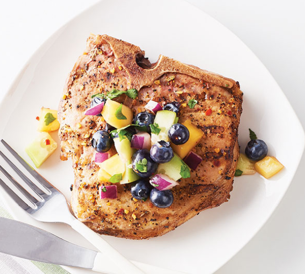 Blueberry Salsa With Thick Pork Chops