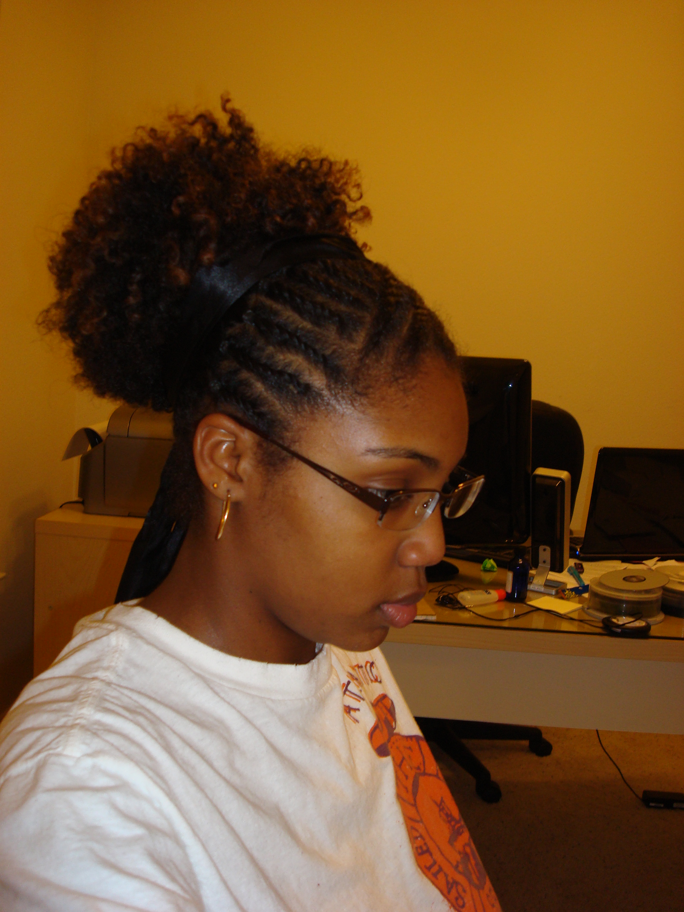short natural hair style curly puff hair 2009 | 062