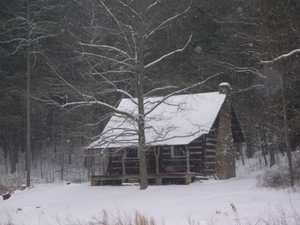 Cabin in the woods winter
