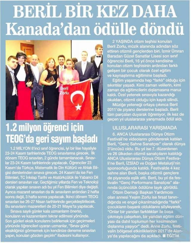 Yesim newspaper article Turkey 2016