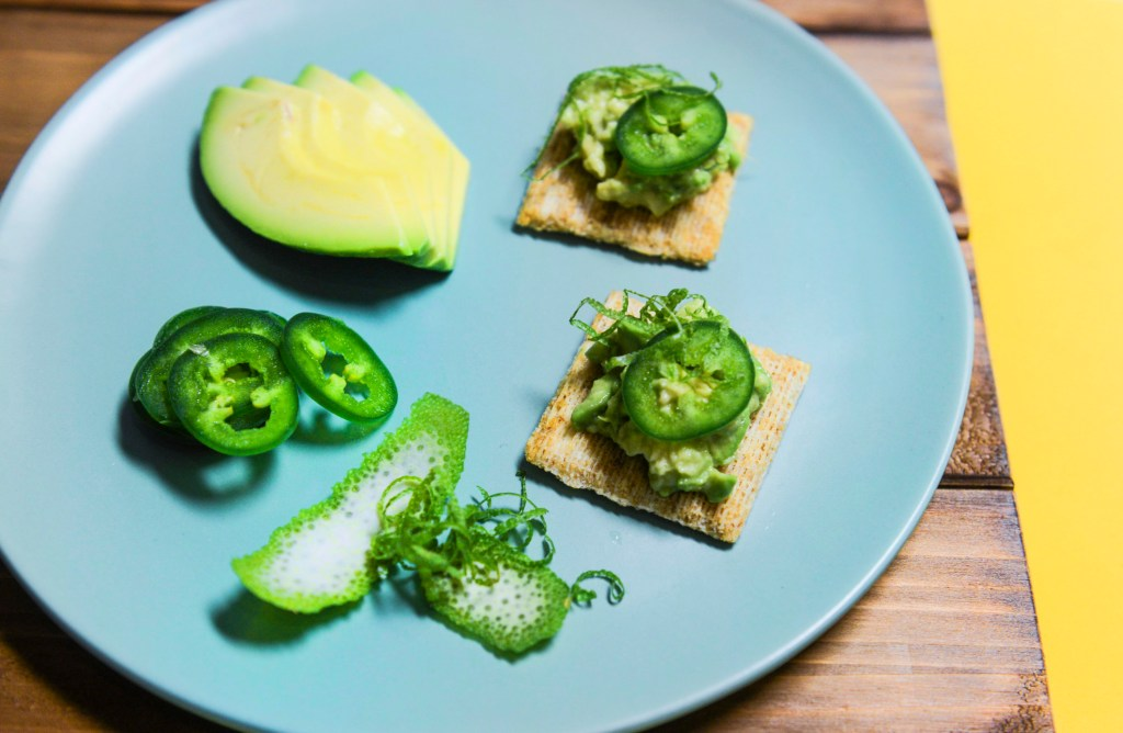Smashed Avocado with Lime and Jalapeno on Triscuit crackers