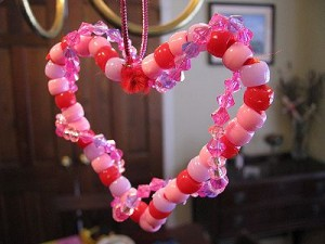 Preschool and Kindergarten Valentine's Day Kids' Craft - Beaded Heart Ornaments