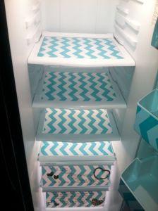 Tea towel fridge shelf liners