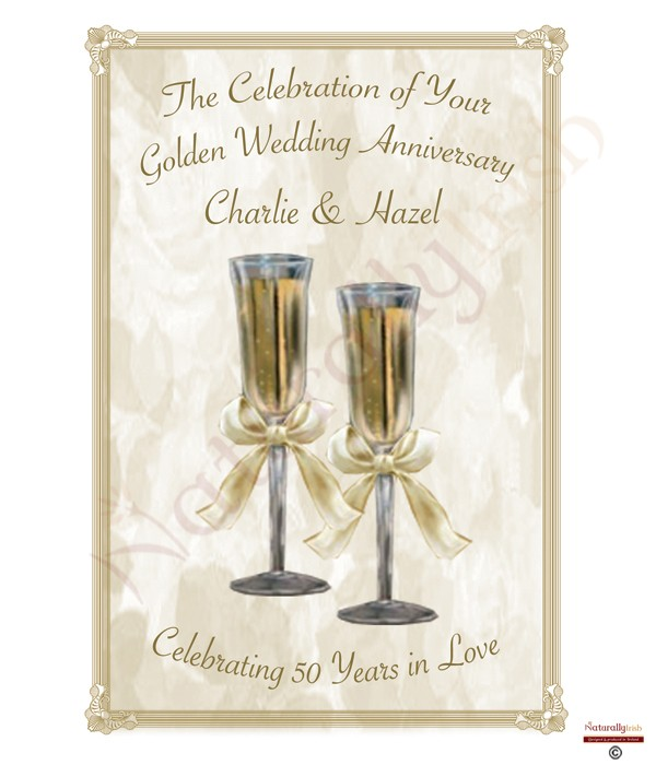 Champagne Glasses Happy Golden Wedding Anniversary Candles  Naturally Irish