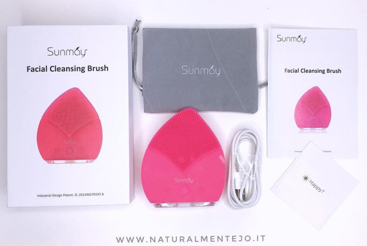 Sunmay cleansing facial brush, confezione e accesori