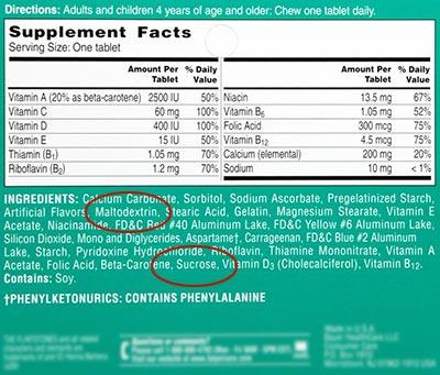 Alerta al consumidor: las vitaminas más comunes, incluidos los niños vitaminas, encontró que contenía OGM Childrens vitamina Label maltodextrina sacarosa 400