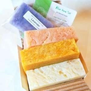 All Natural _ Organic Handmade Soap Gift Set - Aloe Calendula, Orange Hibiscus w_ Aloe, Ginger Lime w_ Aloe