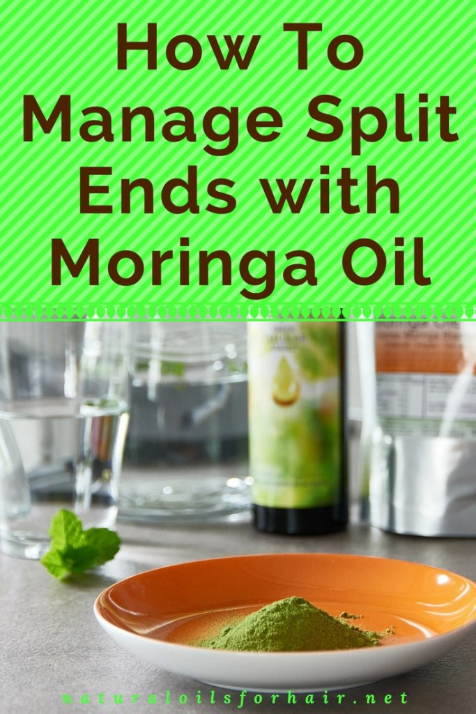 How to manage split ends with moringa oil. Keep split ends from travelling up the shaft as you trim away slowly