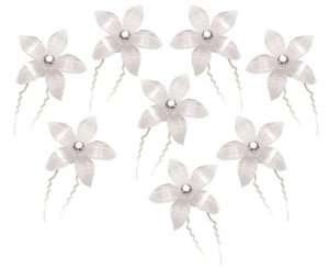 White Flower Bridal Wedding Hair Pins with Rhinestone Crystal Center (Pack of 8)