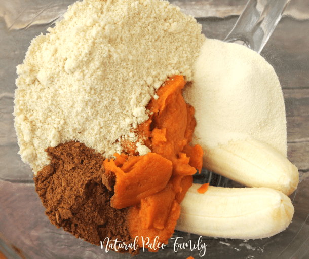 pumpkin, bananas, and cookie ingredients in a bowl