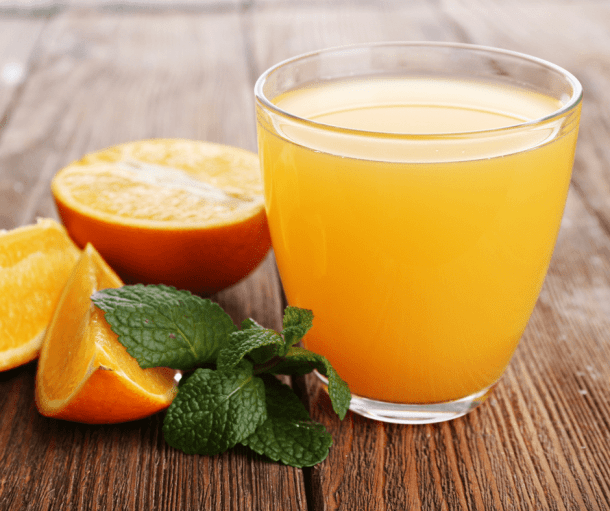 orange juice in a short glass